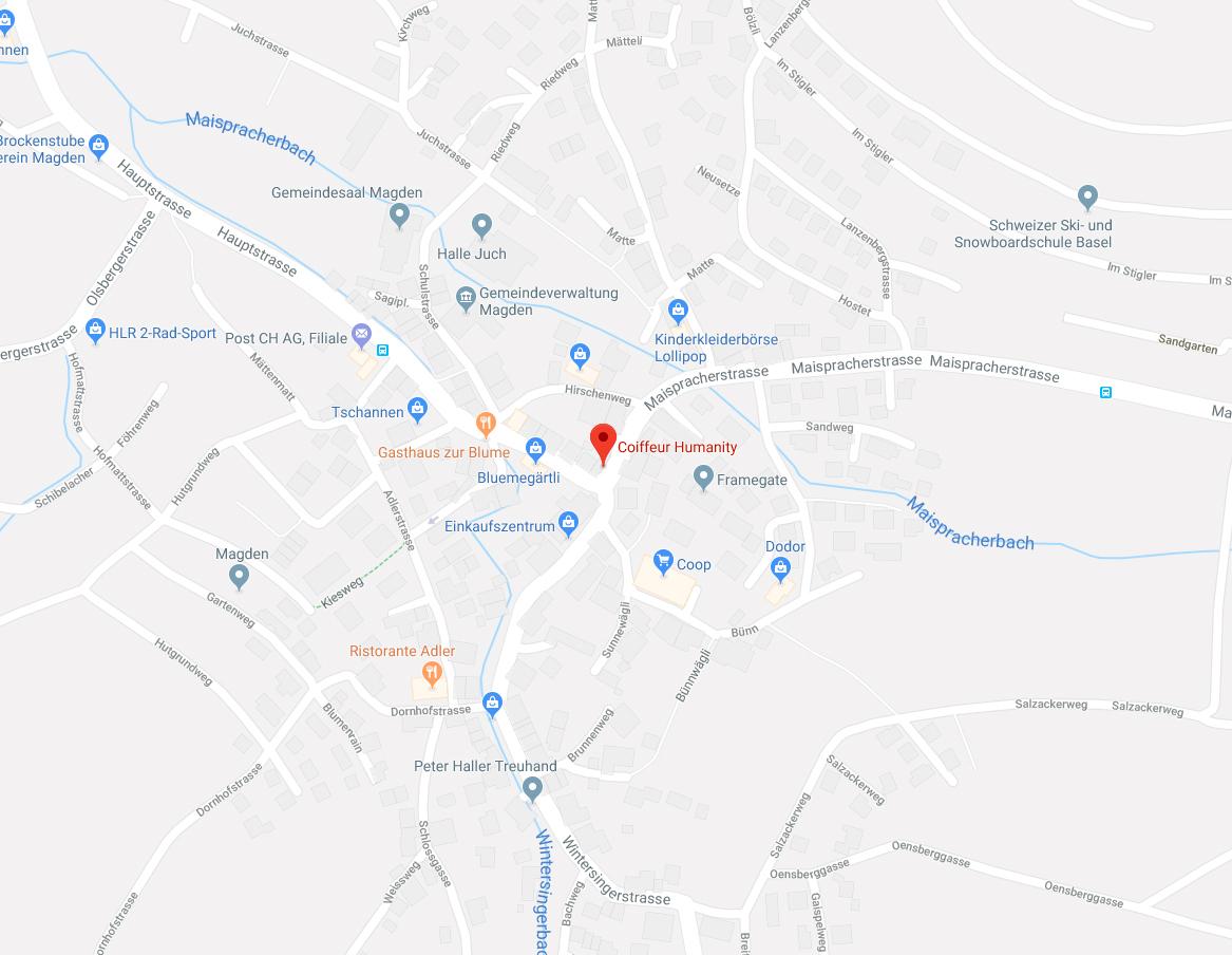 Link zu Coiffeur Humanity auf Google Maps